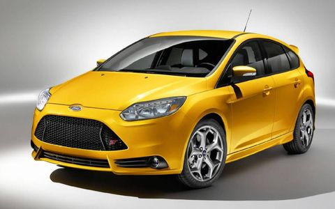 The 2013 Ford Focus ST features a 2.0 liter EcoBoost engine that produces 252 horsepower.