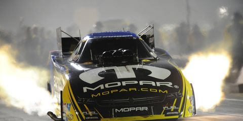 Matt Hagan takes the early lead in qualifying for the U.S. Nationals. Eliminations are Monday.