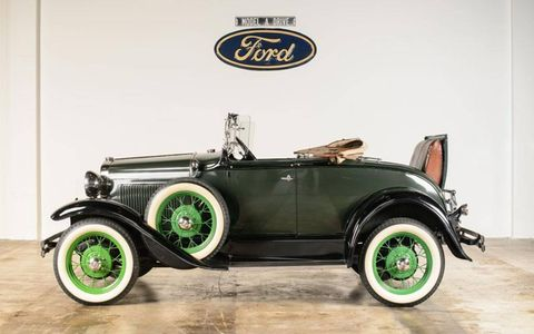 A 1930 Ford Model A Standard Roadster is on display at the Elliott Museum.