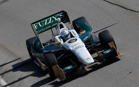 Ed Carpenter laid some rubber at Sebring Friday during training.