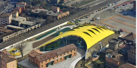 The museum is topped by what looks to be a Ferrari hood.