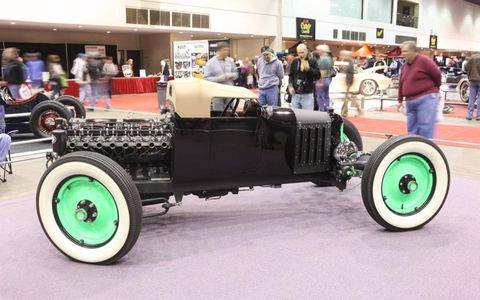 Steve Grimes of Columbus, Ohio constructed this 1927 Ford Roadster. Its powered by a 1948 Buick straight eight engine sends power to the solid front axle to drive the front wheels. The bright green wheels come from a 1927 Chevrolet.