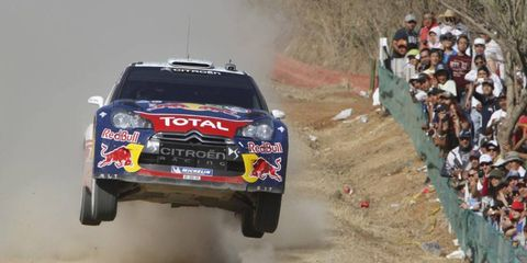 AIR TIME: The Citroën DS3 of Sébastien Ogier and Julien Ingrassia performs aerobatics in round two of the Rally of Mexico, March 3-6.