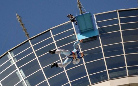 JUMPER WITH CABLE: NASCAR's Carl Edwards plunges off the Stratosphere Tower in Las Vegas, 180 stories above the ground. Photo by: Las Vegas Motor Speedway