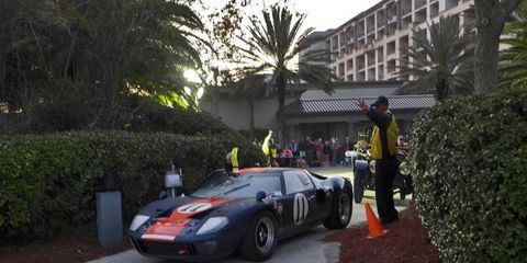 Cars began flowing onto the Amelia Island Concours field at first light. This Ford GT40's engine note was an effective wake-up call.