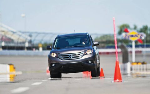 We put the 2012 Honda CR-V EX-L Navi AWD through the paces during our Autofile test, including the slalom.