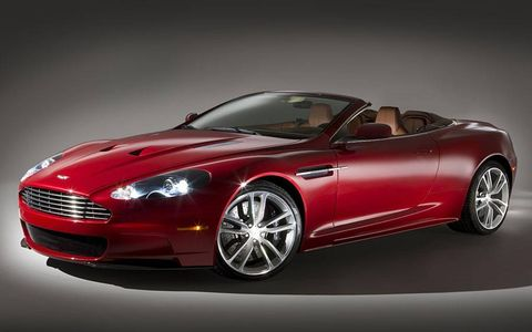 The soft-top version of Aston Martin's beefy DBS will top 191 mph, the company says, and sprint from 0 to 62 mph in 4.3 seconds. The chassis is shared with the DBS coupe, while the fabric roof is borrowed from the DB9 Volante.