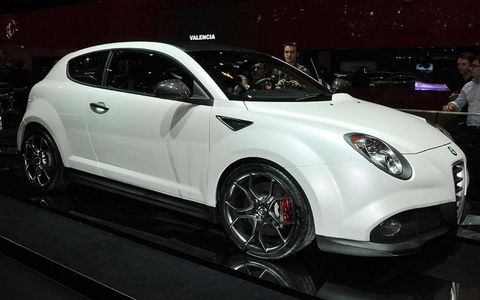 """The Alfa Romeo MiTo GTA has a bit of a tuner feel to it. It's been lowered 0.8 of an inch, and power comes from a turbocharged 1.7-liter engine that makes 240 hp. The unit also has direct injection and variable valve timing. GTA stands for Grand Turismo Alleggerito. The last word means """"reduced weight"""" in Italian, and the concept is fitted with a number of carbon-fiber parts, including the spoiler."""