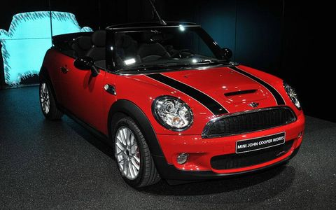 Mini revealed the John Cooper Works convertible at the Geneva motor show. It's billed as the world's fastest premium small cabriolet. The top speed is 146 mph, just two miles slower than the hatch version. Zero to 62 mph is accomplished in 6.9 seconds, nearly on par of with the fixed-roof's 6.5-second time. The almost-nill sacrifice in performance is thanks to the same 1.6-liter turbo engine found in the Mini S models.