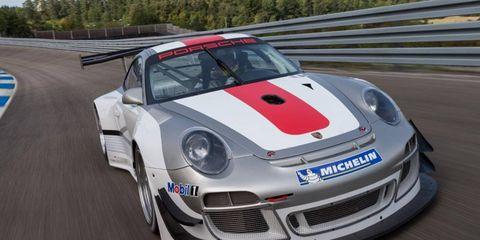 The Porsche 911 GT3 R race car for the 2013 season.