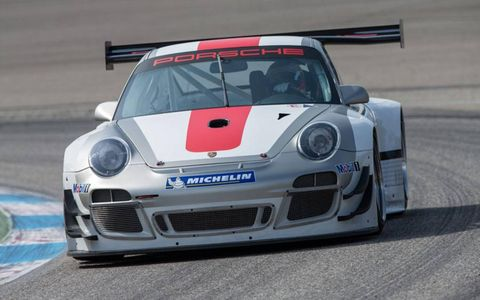 Porsche Motorsport's modified aerodynamics on the new 911 GT3 R extend to the front bumper panels and all fenders.