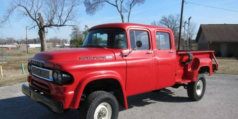 They don't make 'em like they used to: We're drawn to this 1960 Dodge Power Wagon Quad-cab featured at Bring a Trailer.