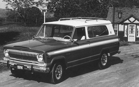 "The 1974 AMC Cherokee was introduced as the ""sporty"" two-door equivalent to the four-door Wagoneer."