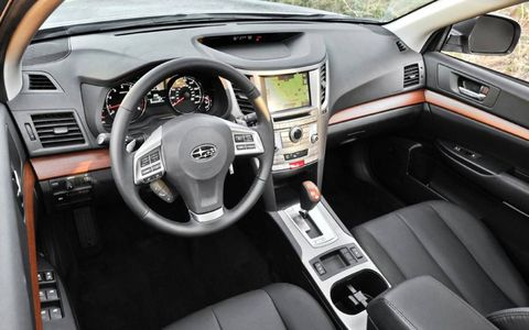 The leather interior of the 2013 Subaru Outback 2.5i Limited seems up to par with the tested sticker price of $33,607.