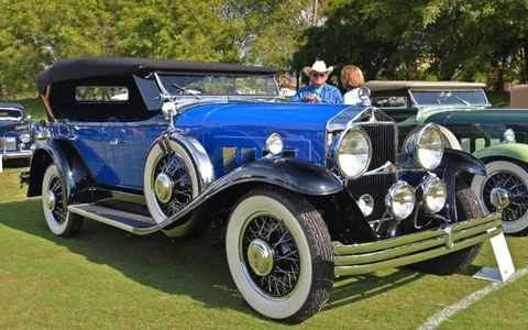 The 1930 Willys Knight Griswold of Janette and Robert Blair of Wills Point, Texas, at the Seventh Boca Raton Concours d'Elegance.