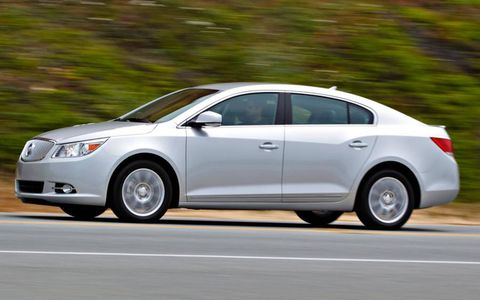 The 2012 Buick LaCrosse with eAssist uses a four-cylinder engine.