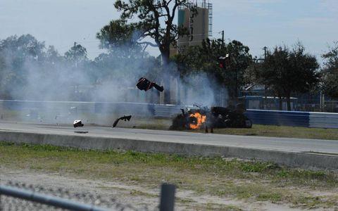 Smoke, Pollution, Tar, Fire, Flame, Guard rail, Race track, Racing, Auto racing, Kit car,