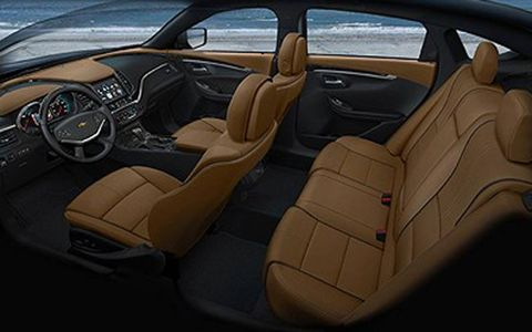 The interior of the 2014 Chevrolet Impala is roomy, particularly in the back seat.