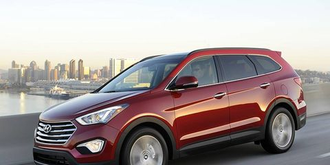 The 2013 Hyundai Santa Fe gains nearly 10 inches of length over the 5-passenger model.