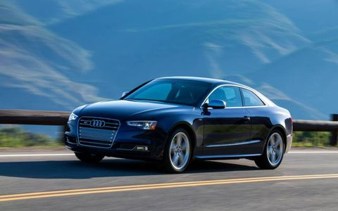 The front of the 2013 Audi S5 coupe has changed with new slim headlights and redesigned fog lights.