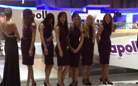 A lineup of booth babes at the 2013 Geneva motor show.