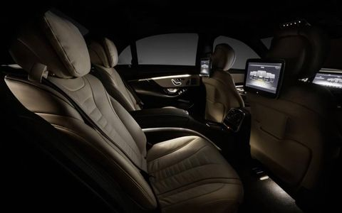 The rear seats in the new Mercedes-Benz S-class.
