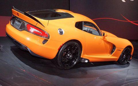 A rear view of the 2014 SRT Viper TA.