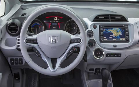 The in-dash navigation system in the 2013 Honda Fit EV lacks user-friendly functionality.