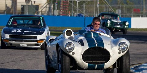 The 1953 Sebring-winning 1952 Cunningham CR4 on track prior to the 12-hour race.