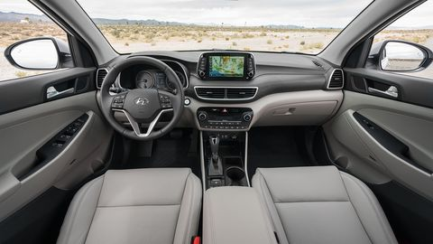 Hyundai unveiled a refreshed Tucson at the 2018 New York auto show, with an updated front fascia design and new standard features.