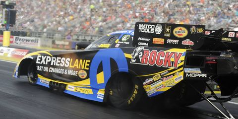 Matt Hagan leads the Funny Car field into Monday's eliminations at the Chevrolet Performance U.S. Nationals.