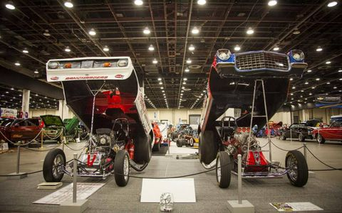 Two dragsters show off their underpinningsPhoto by: Tim Sutton