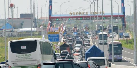Traffic is seen at a standstill at the Brebes toll gate.