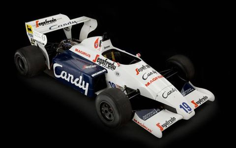 The Toleman has a 1.5-liter, four-cylinder engine.