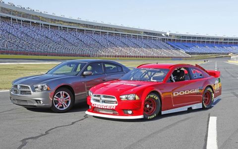 The newly designed and engineered 2013 NASCAR Sprint Cup Series Dodge Charger (right) brings unmistakable brand identity from the Charger production model back to the track. The new race car is scheduled to make its on-track debut next season.