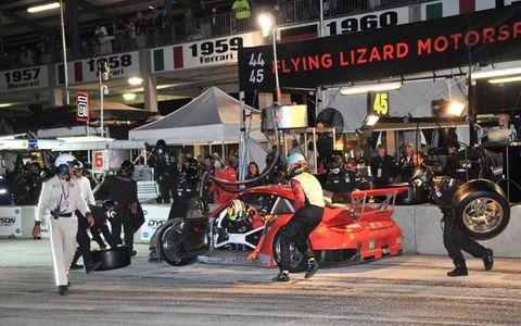 2012 SEBRING- #45 Flying Lizard Motorsports Porsche 911 GT3 RSR pitstop.