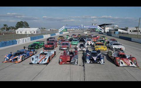Sebring International Raceway.Car line up on front straight.
