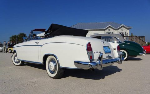 A 1959 Mercedes-Benz 220 SE convertible was our smooth ride for the Friday morning tour.