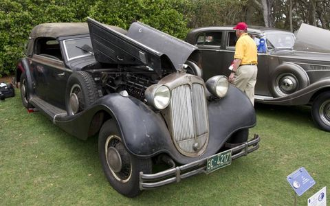 An unrestored 1937 Horch 853 A Cabriolet.