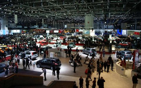 A view from high above the Geneva motor show.
