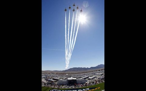 FINAL FLYOVER? // The U.S. Air Force Thunderbirds perform the ceremonial flyover at Las Vegas Motor Speedway before the NASCAR Sprint Cup race there. Flyovers may be a thing of the past thanks to the national sequester. Photo by Lesley Ann Miller/LAT Photographic