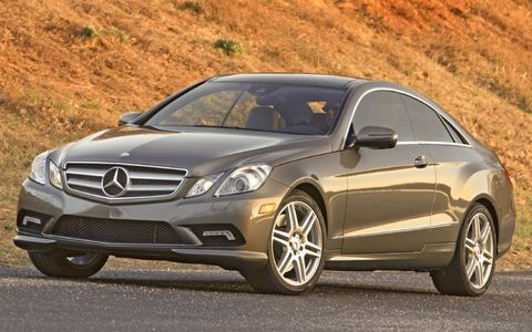 A notable exterior feature on the 2013 Mercedes-Benz E550 coupe is the lack of a B-pillar, allowing for an almost continuous flow of glass from the front to the back.
