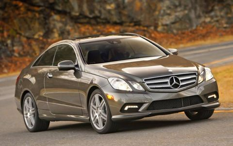 The headlights on the 2013 Mercedes-Benz E550 coupe are much more aggressive and sporty than those of previous years.