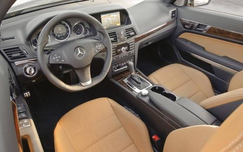 The interior of the 2013 Mercedes-Benz E550 coupe with the Premium 1 package includes a navigation system, backup camera, and much more.
