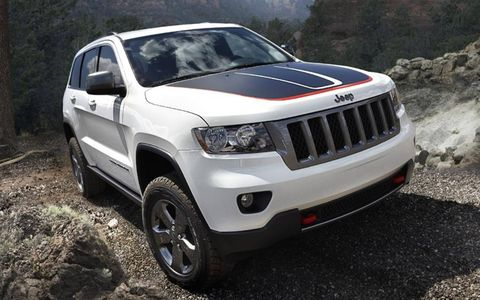 The 2013 Jeep Grand Cherokee Trailhawk is equipped with a 5.7-liter V8 producing 360 hp and 390 lb-ft of torque.