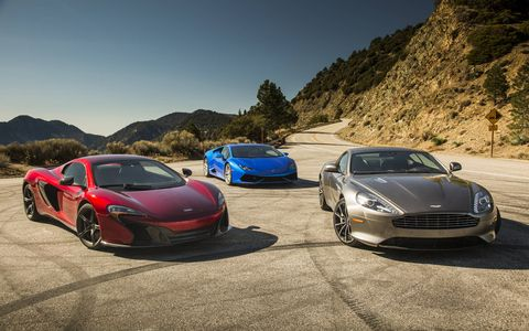 Three excellent choices should you need to consider a supercar (r to l): the Aston Martin DB9 GT, Lamborghini Huracan AWD and McLaren 650S.
