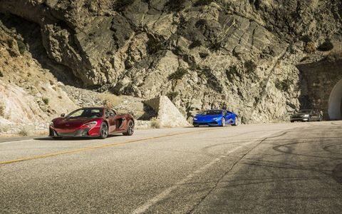 Three excellent choices should you need to consider a supercar (r to l)r: the Aston Martin DB9 GT, Lamborghini Huracan AWD and McLaren 650S.
