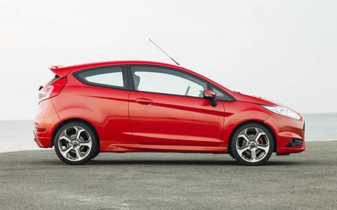 The 2014 Ford Fiesta ST is equipped with an EcoBoost 1.6-liter four-cylinder producing 180 horsepower with 177 lb-ft of torque.