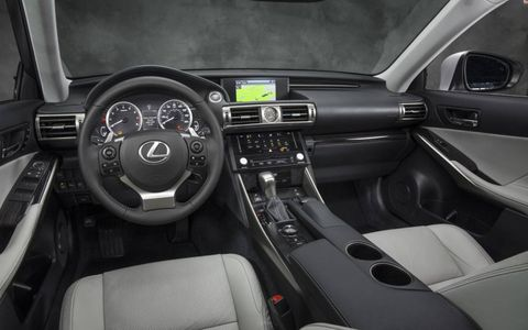 The instrument panel on the 2014 Lexus IS sedan.