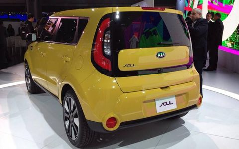 A rear view of the 2014 Kia Soul at the New York auto show.